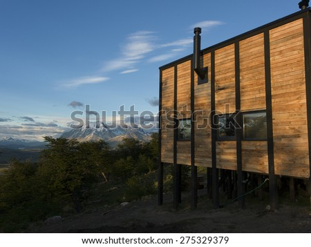 View of Awasi Lodge, Torres del Paine National Park, Patagonia, Chile - stock photo