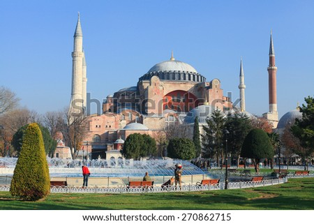 View of Aya Sofia exterior on a sunny day - December 11, 2012, Istanbul, Turkey