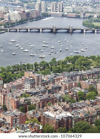 View of Back Bay Boston at 4th of July. A view from prudential overlooking Charles and Cambridge