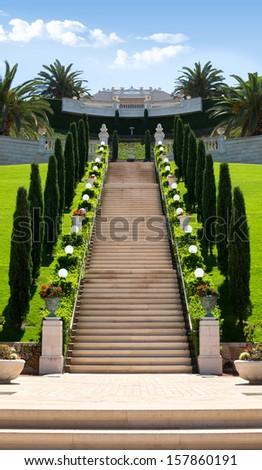 View of Bahai gardens on Mount Carmel at Haifa, Israel - stock photo
