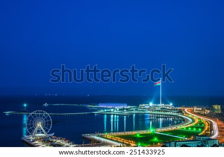 View of Baku at night - stock photo
