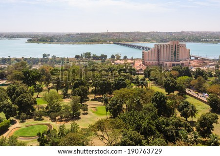 View of Bamako and the Niger River in Mali - stock photo