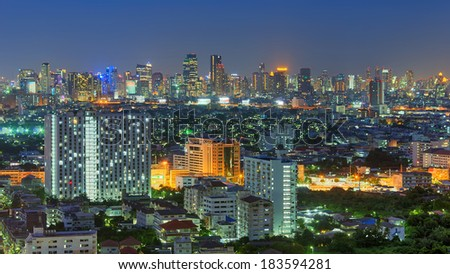 View of Bangkok Modern buildings in the business district, HDR images.