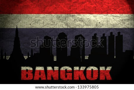 View of Bangkok on the Grunge Thai Flag