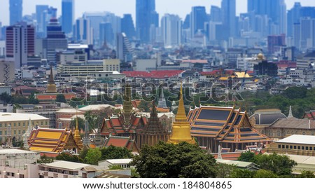 View of Bangkok's Wat Phra Kaew in the Grand Palace,Thailand. - stock photo