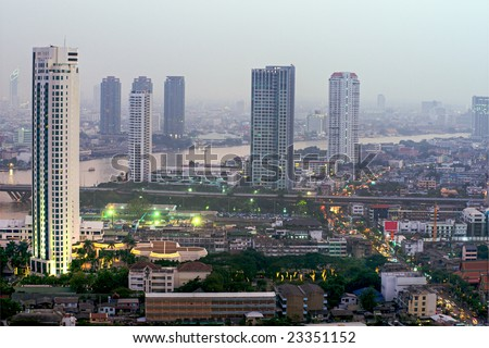 View of bangkok skyline at twilight, Thailand.