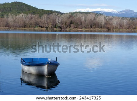 View of Banyoles  lake.Catalonia.Spain - stock photo