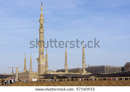 View of Baqee' Muslim cemetary at Masjid (mosque) Nabawi in Al Madinah, Kingdom of Saudi Arabia. - stock photo