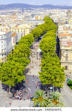 View of Barcelona and Las Ramblas with the Columbus column.