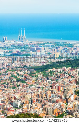 view of Barcelona cityscape from mount.   Spain - stock photo