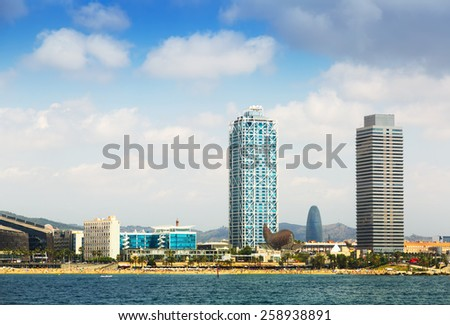View of Barcelona from Mediterranean sea. Port Olimpic - stock photo