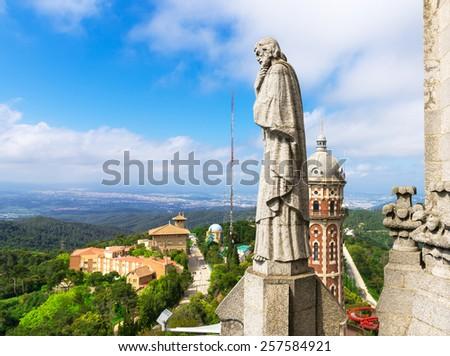 View of Barcelona from Mount Tibidabo, Catalonia. Spain - stock photo