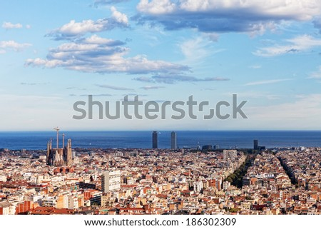 View of Barcelona from park Guel on a sunset - stock photo