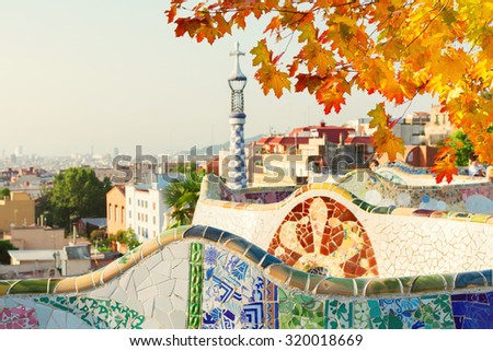 view of Barcelona  from park Guell at fall day,  Spain - stock photo