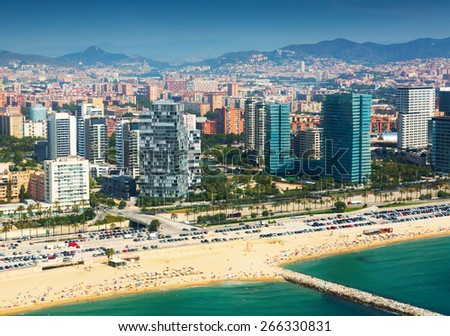 View of Barcelona from  the helicopter.  New houses at sea side neighbourhood  district - stock photo