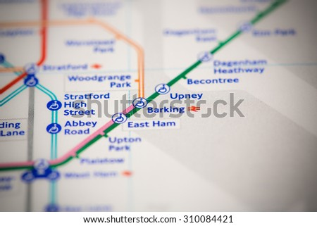 View of Barking station on a London subway map. - stock photo
