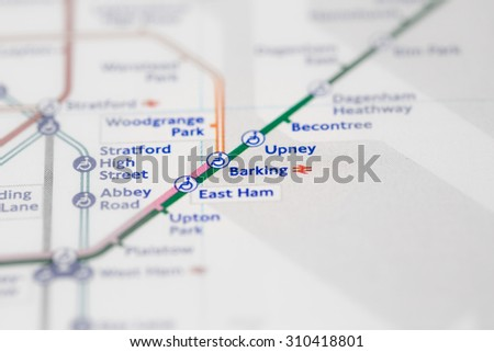 View of Barking station on a London subway map. (selective colouring) - stock photo
