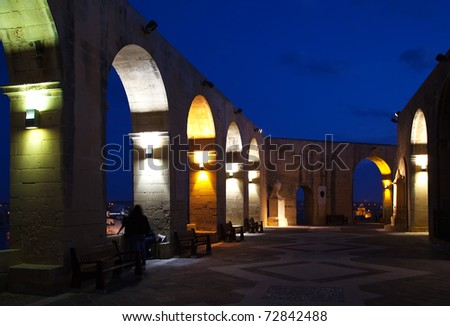 View of Barrakka Gardens at Valletta in  night. Malta. - stock photo