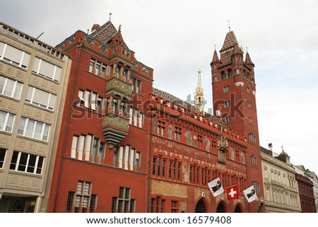 View of Basel Town Hall, Switzerland. - stock photo