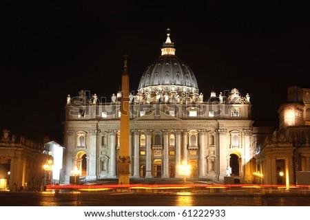 view of Basilica di San Pietro, night,Vatican City in Rome, Italy - stock photo