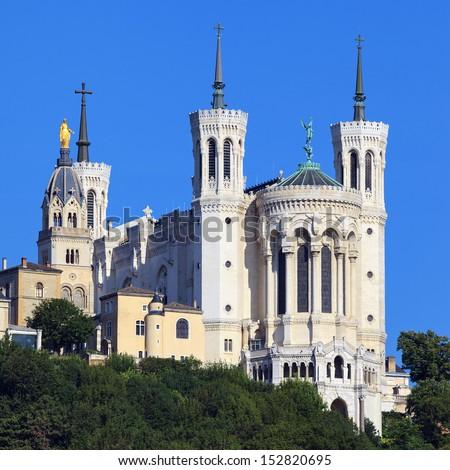 View of Basilica of Notre Dame de Fourviere, Lyon, France - stock photo