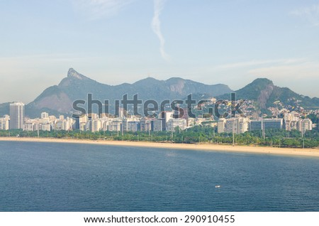 View of bay in Rio de Janeiro Brazil, with Corcovado Christ far on the left - stock photo