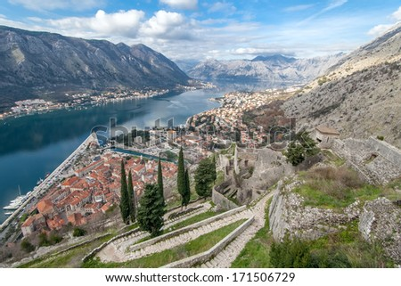 View of Bay of Kotor old town from Lovcen mountain. Montenegro. Kotor is part of the unesco world - stock photo