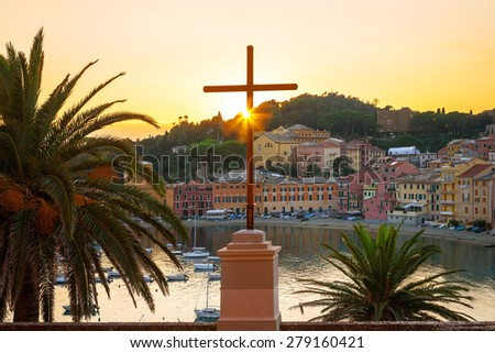 View of Bay of Silence. Sestri Levante, Liguria, Italy - stock photo