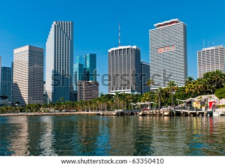 View of Bayfront Park  and downtown Miami from Biscayne Bay. - stock photo