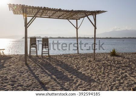View of beach at Gili Meno, Lombok, Indonesia - stock photo