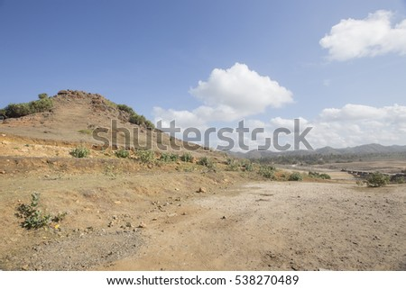 View of beach rock at Seger beach with blurred background,Lombok, Indonesia.
