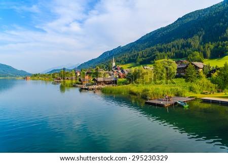 View of beautiful alpine lake Weissensee in summer landscape, Austria - stock photo