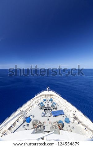 View Of Beautiful Blue Sky And Ocean From A Cruise Ship - stock photo