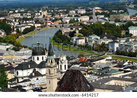 View of beautiful city Salzburg, Austria from the towering Salzburg fortress - stock photo
