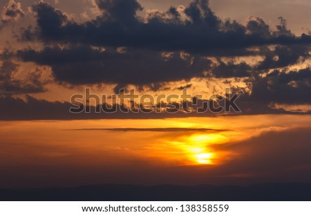 View of beautiful cloudy sunset in spring season