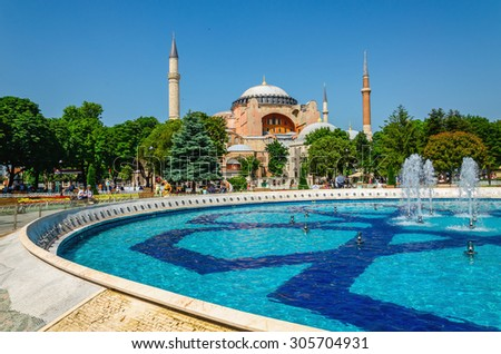 View of beautiful Hagia Sophia with a fountain, Christian patriarchal basilica, imperial mosque and now a museum, Istanbul, Turkey - stock photo