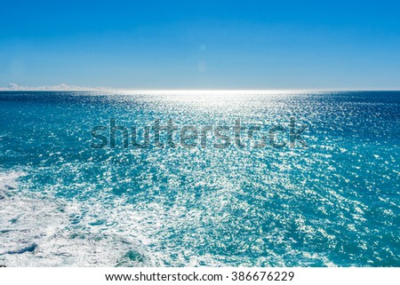 View of beautiful Mediterranean landscape, sea and sunny sky. Villefranche-sur-Mer, Nice, Cote d'Azur, French Riviera.