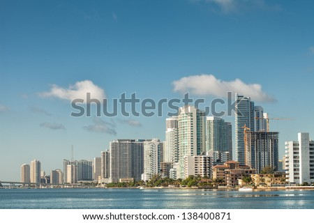 View of beautiful Miami cityscape from Julia Turtte causeway