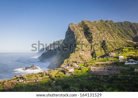 View of beautiful mountains and ocean on northern coast near Boaventura, Madeira island, Portugal - stock photo
