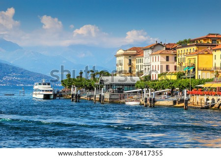 View of beautiful old style architecture of Bellagio in summer, Como lake, Italy. - stock photo