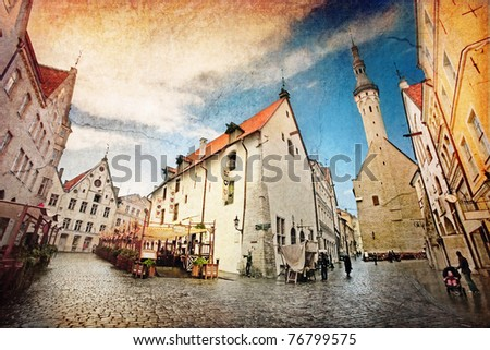 View of beautiful old town in painted style. Tallinn. Estonia - stock photo