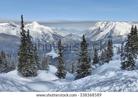 view of beautiful winter landscape in the Alps  - stock photo