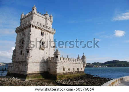 view of Belem Tower, one the most famous landmark in the city of Lisbon (Portugal)