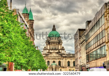 View of Belfast City Hall from Donegall Place - Northern Ireland - stock photo