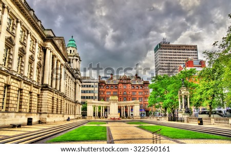 View of Belfast City Hall - Northern Ireland - stock photo