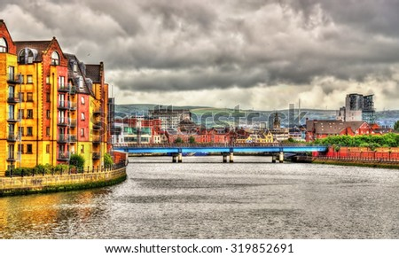 View of Belfast over the river Lagan - United Kingdom - stock photo