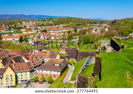 View of Belfort from the fortress - France - stock photo