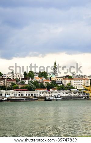 View of Belgrade city from Danube river - stock photo