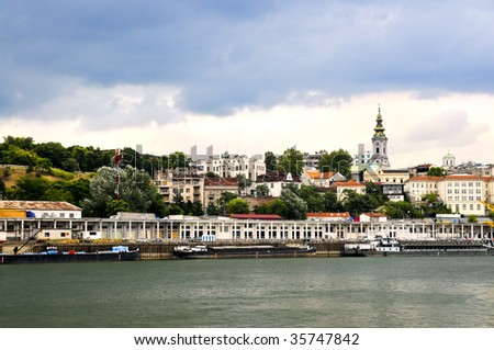View of Belgrade city from Danube river - stock photo