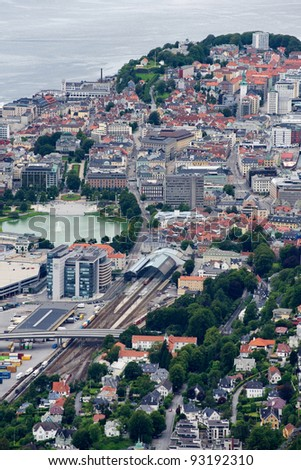 View of Bergen from above, Norway